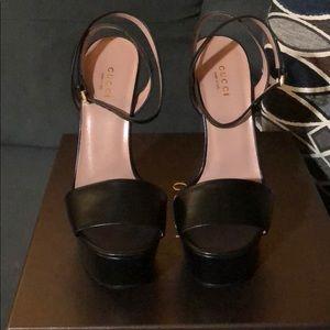11dd9b405de Gucci Shoes - Gucci Leather Platform Ankle-Wrap Sandals